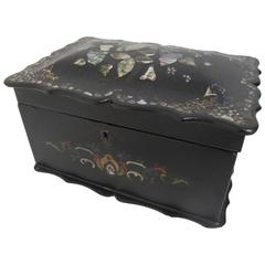 19th Century English Papier Mâché Tea Caddy