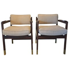 Architectural Elegant Pair of Armchairs
