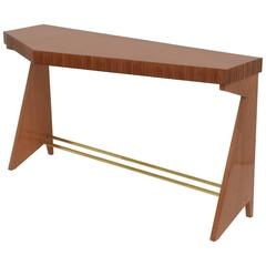 Fine Italian Modern Walnut and Brass Console Table, Dassi