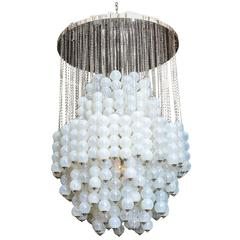 Monumental Italia Modern Polished Chrome and Glass Chandelier, Mazzega
