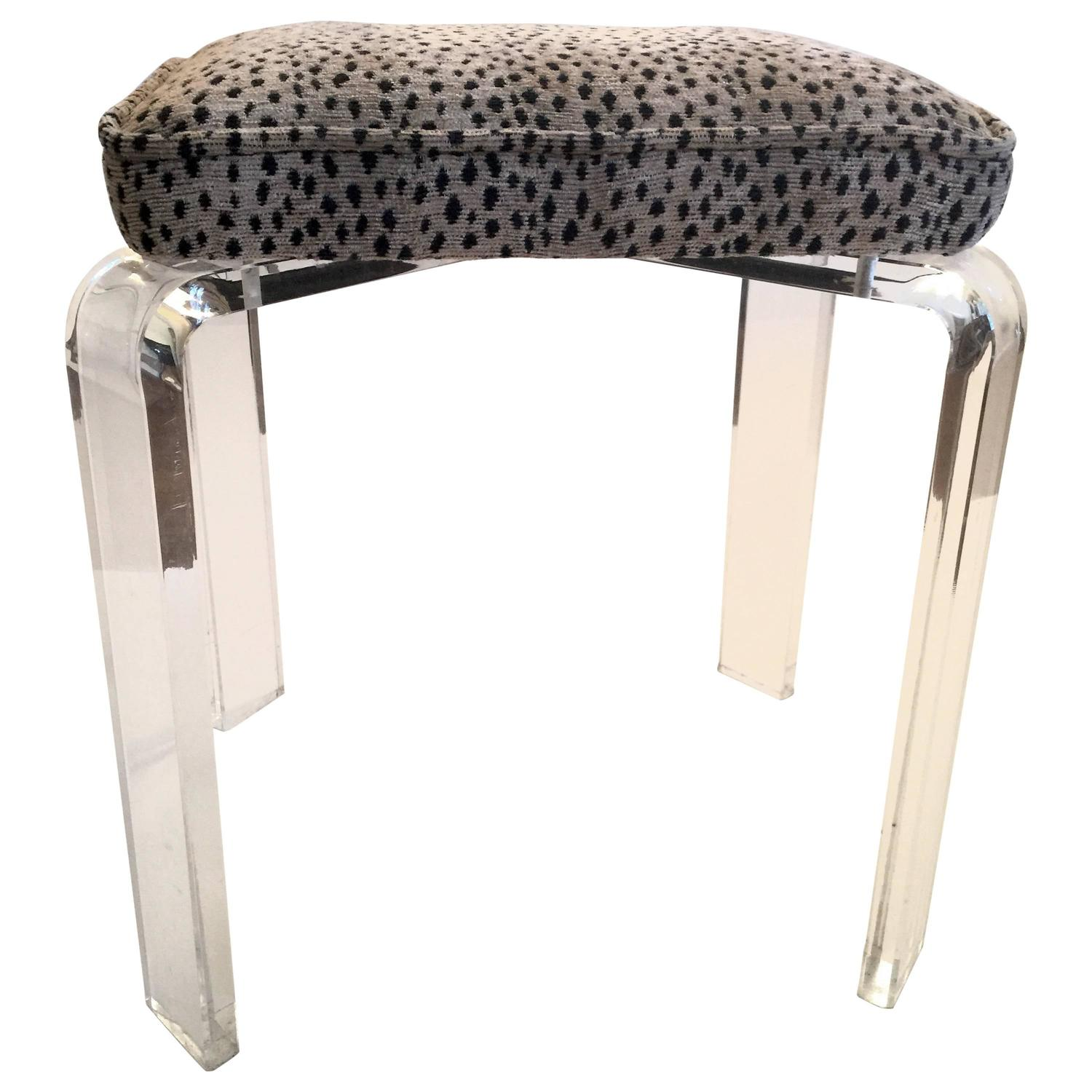 Lucite Stool With Leopard Upholstery At 1stdibs
