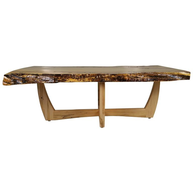 Modernist Figured Spalted Maple Coffee Table By Griff Logan For Sale At 1stdibs