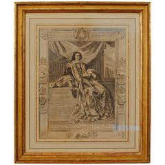 Mid-18th Century Engraving in a Mid-19th Century Giltwood Frame