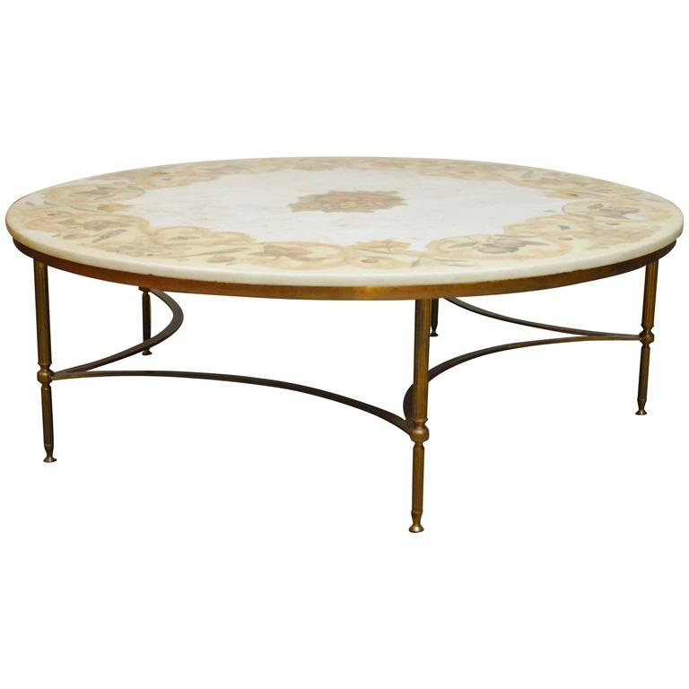 Florentine marble and brass round cocktail coffee table at 1stdibs Antique brass coffee table