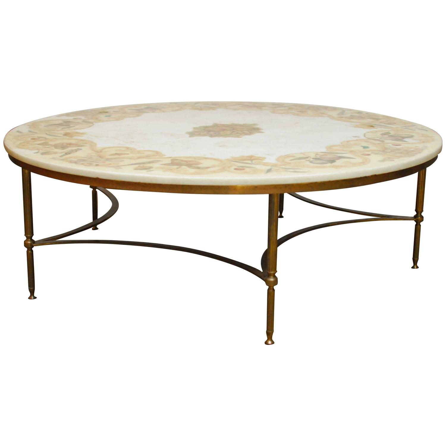 Florentine Marble And Brass Round Cocktail Coffee Table At