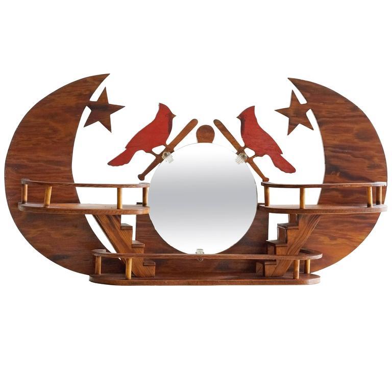 st louis cardinals folk art wall hanging for sale at 1stdibs. Black Bedroom Furniture Sets. Home Design Ideas