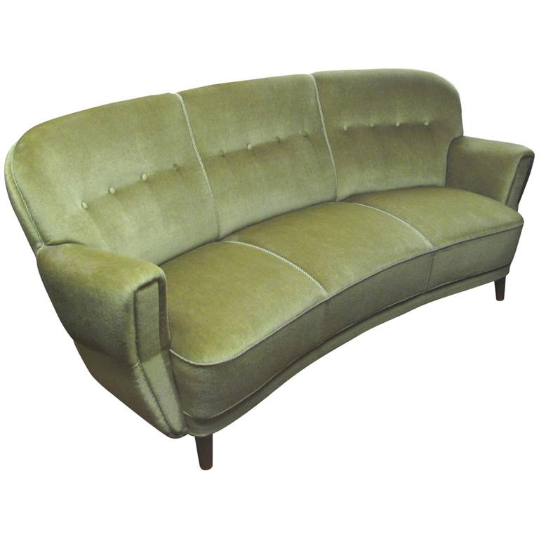 Danish 1930s 1940s Curved Mohair Upholstered Sofa For Sale