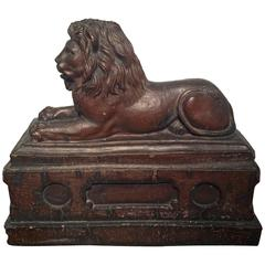 Large 19th Century English Stoneware Recumbent Lion