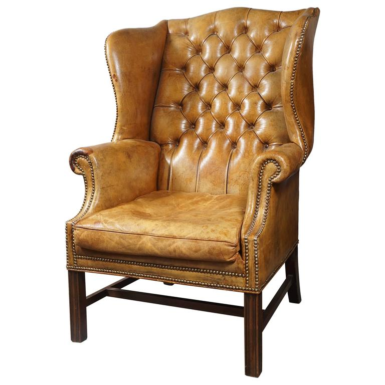 Tufted leather wingback chair at 1stdibs : 3378483l from www.1stdibs.com size 768 x 768 jpeg 55kB