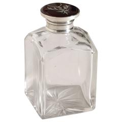 English Art Deco Crystal & Silver Pique Inlaid Faux Tortoiseshell Scent Bottle