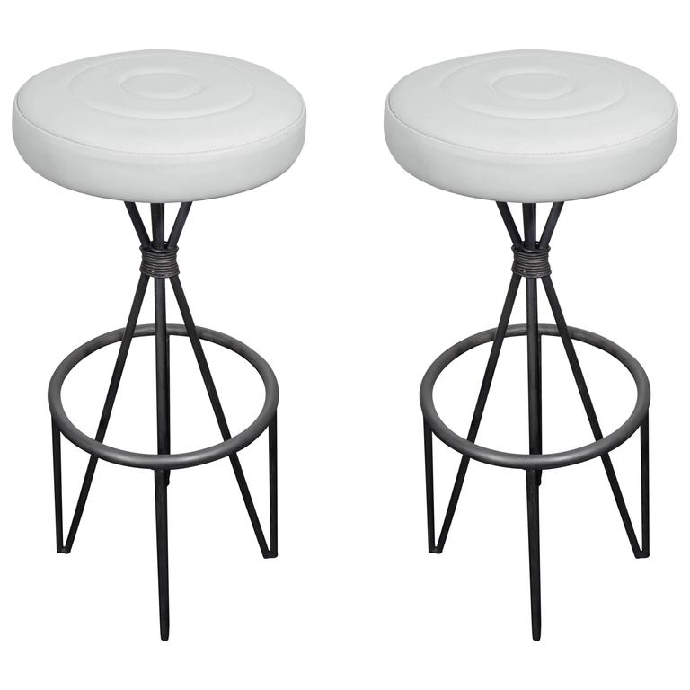 Leather and Iron Barstools For Sale