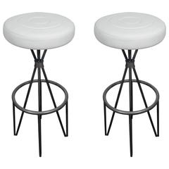 Leather and Iron Barstools