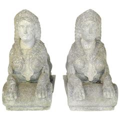 Pair of Egyptian Revival Carved Stone Garden Sphinx