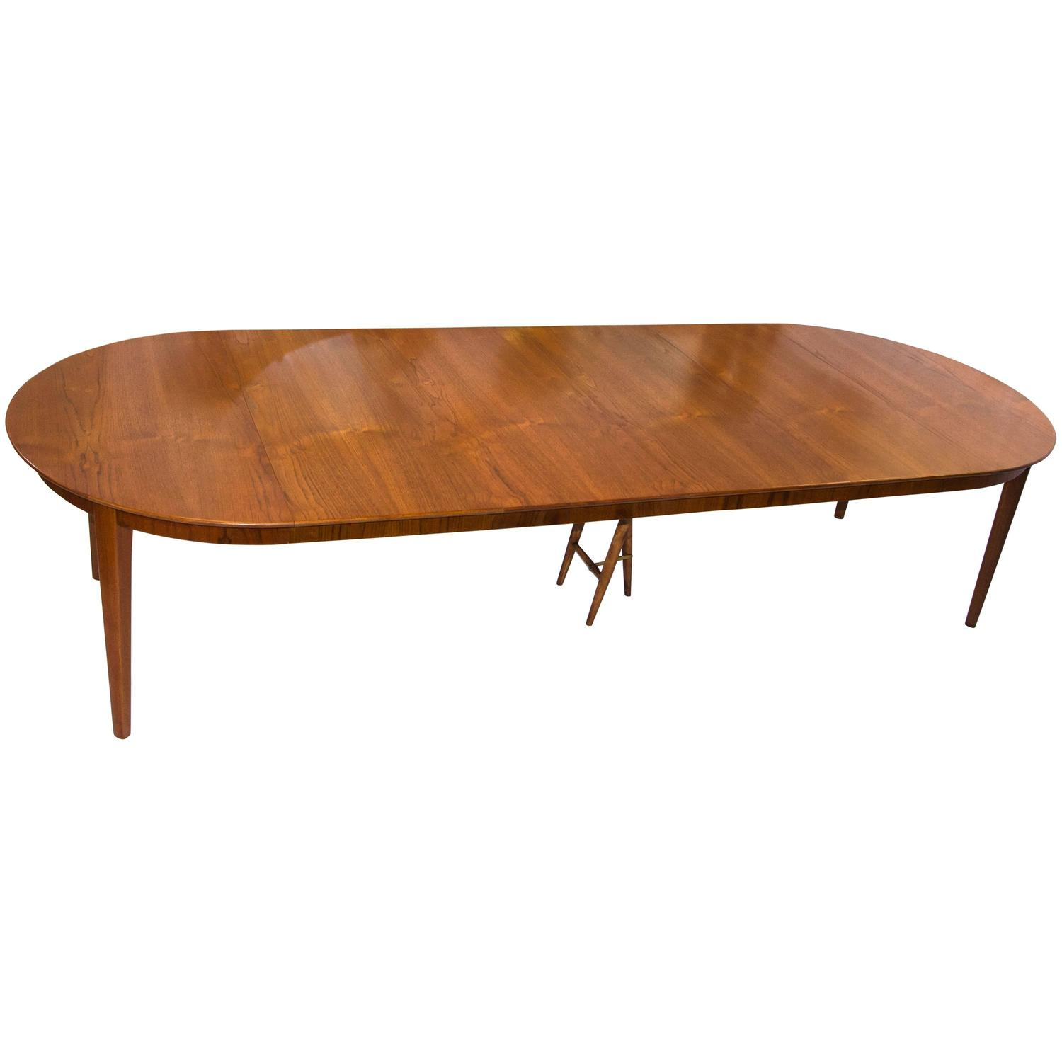 Danish teak dining table seats 12 at 1stdibs for Dining room 12 seater table