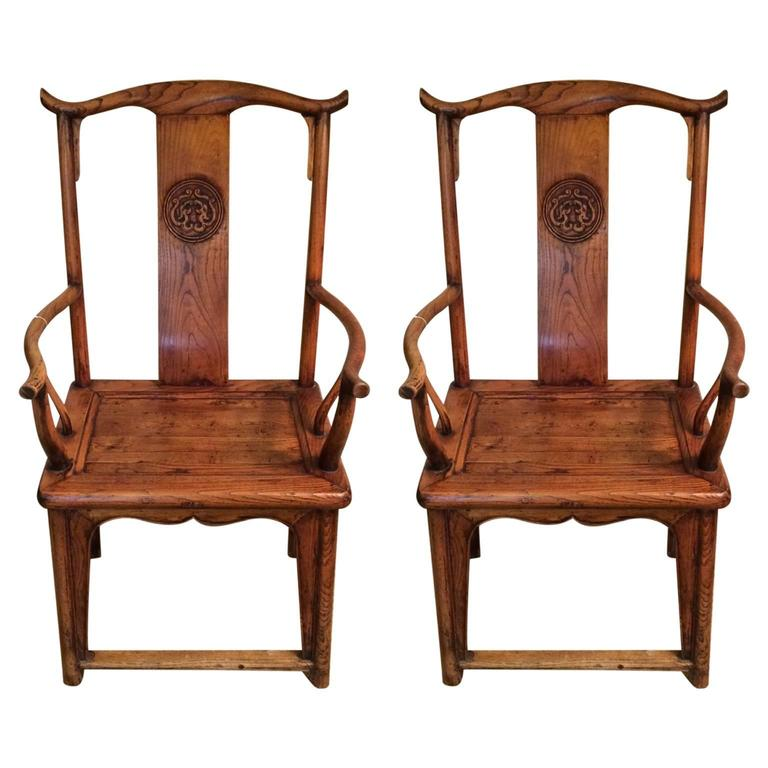 Pair of chinese hardwood yoke back chairs for sale at 1stdibs