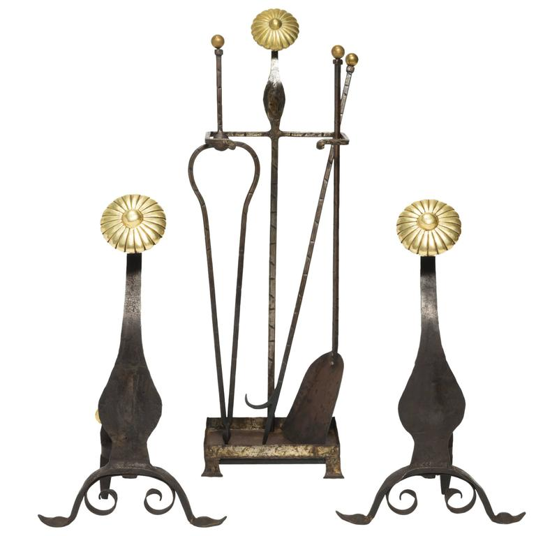 Arts and crafts era fireplace tools and andirons set for for Arts and crafts tools