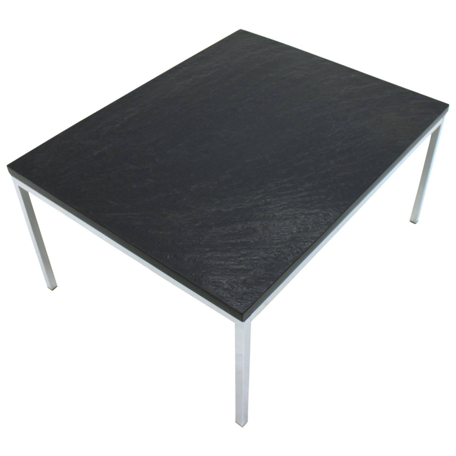 Coffee Table with a Slate Top and Chrome Base 1960s