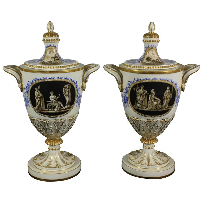 Pair of Neoclassical Italian Lidded Urns