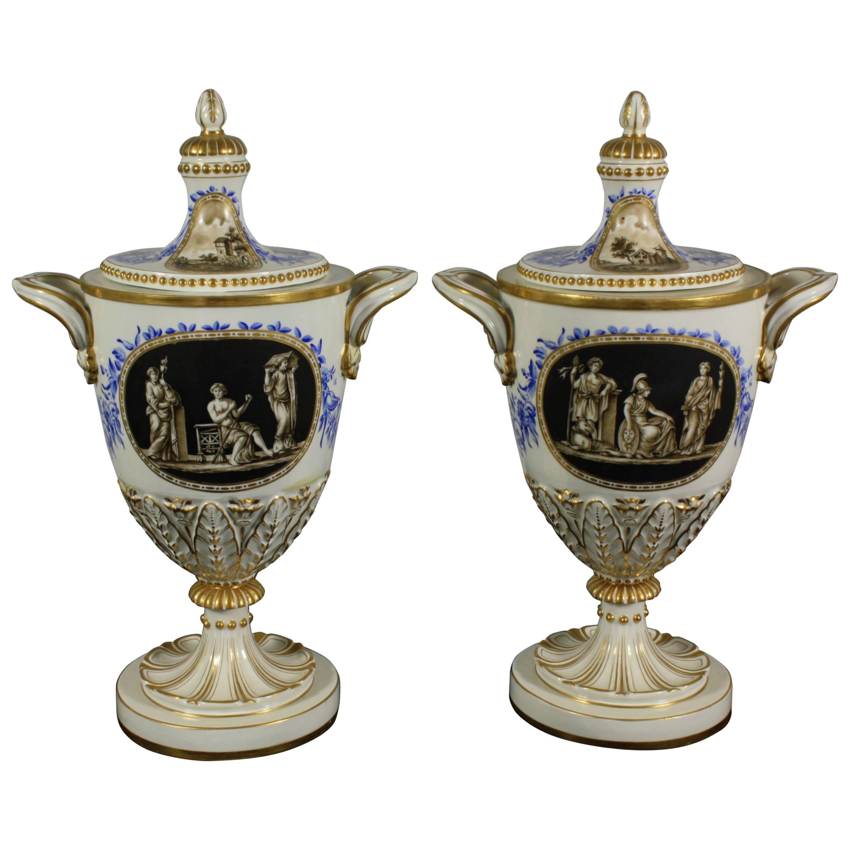 Pair of Neoclassical Italian Lidded Urns