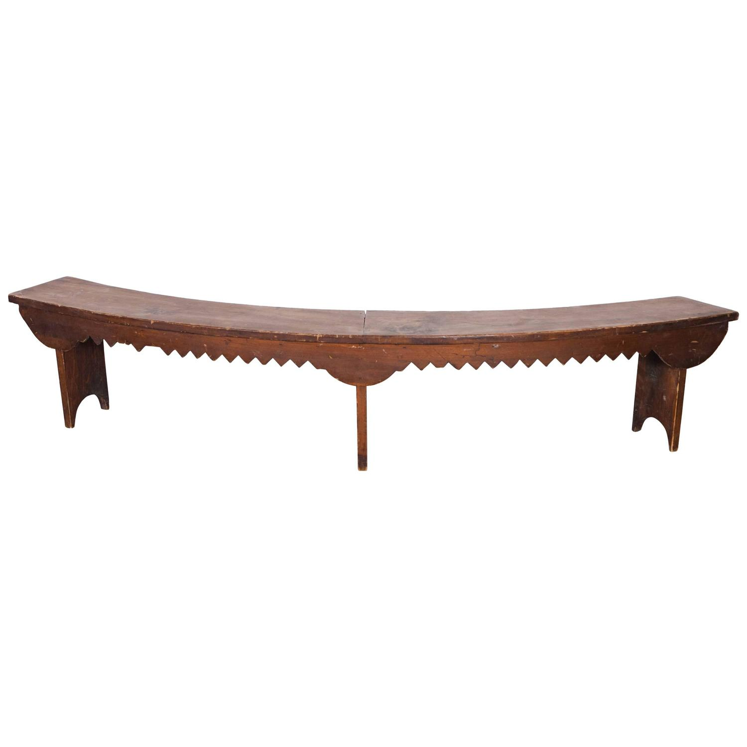 Curved Wooden Bench With Carved Decorative Apron At 1stdibs