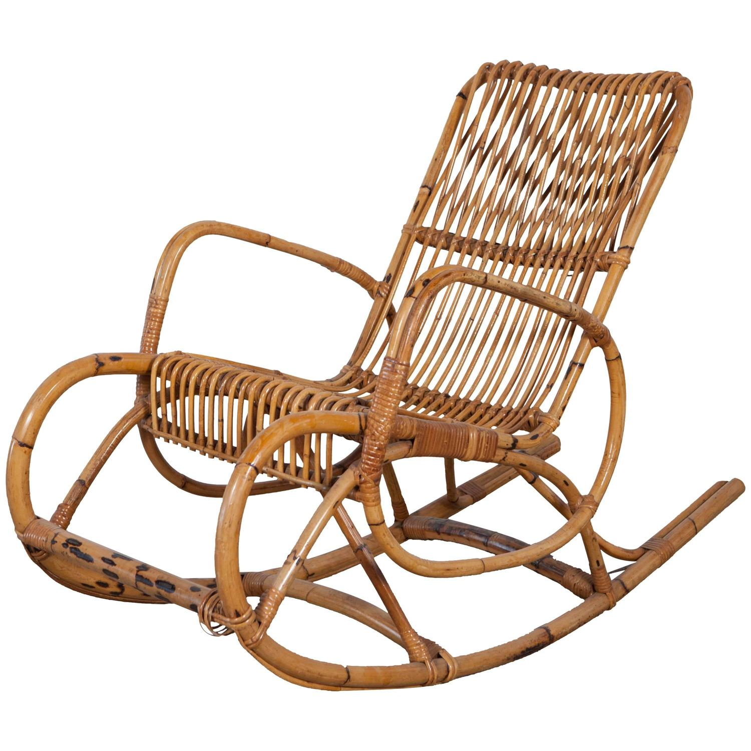 Vintage Italian Bamboo Rocking Chair with Square Arms For Sale at
