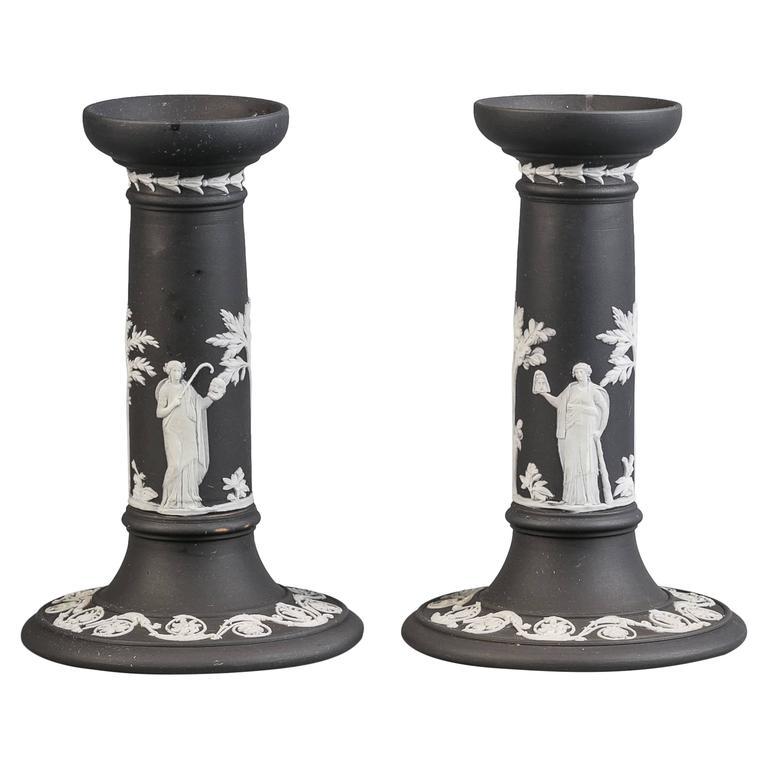 Pair of Wedgwood Basalt Candlesticks, 19th Century