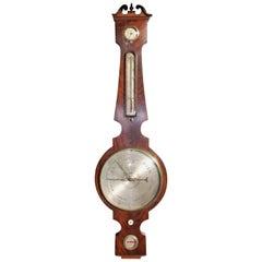 English Mahogany Prince of Wales Banjo Barometer, Circa 1820