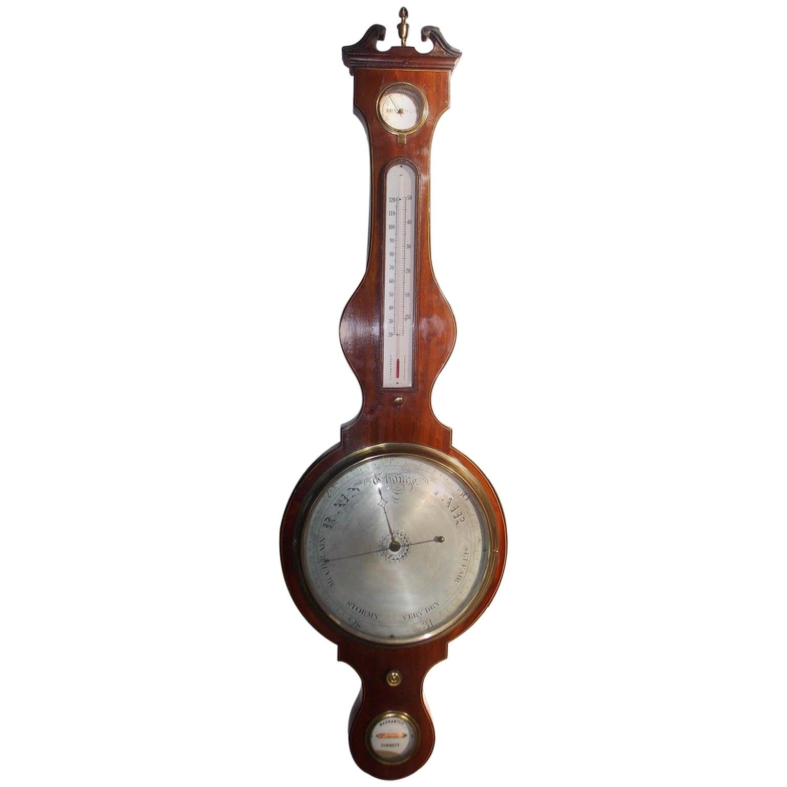 English Mahogany Inlaid Banjo Barometer, Circa 1820