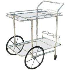 Italian Silver Plate over Brass Faux Bamboo Bar Cart