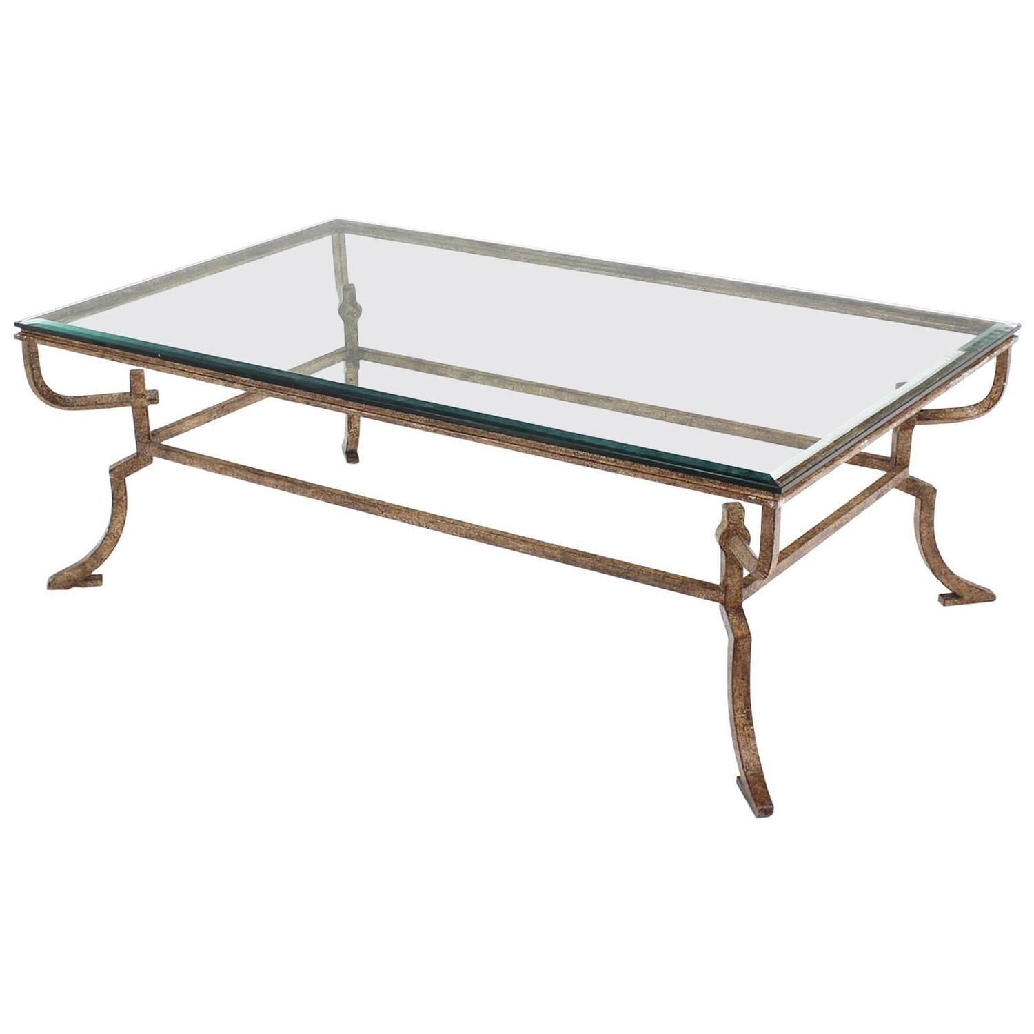 Heavy wrought iron studio work base glass top coffee table for Heavy glass coffee tables