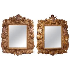 Rare Pair of 17th Century Carved, Polychrome and Giltwood Portuguese Mirrors