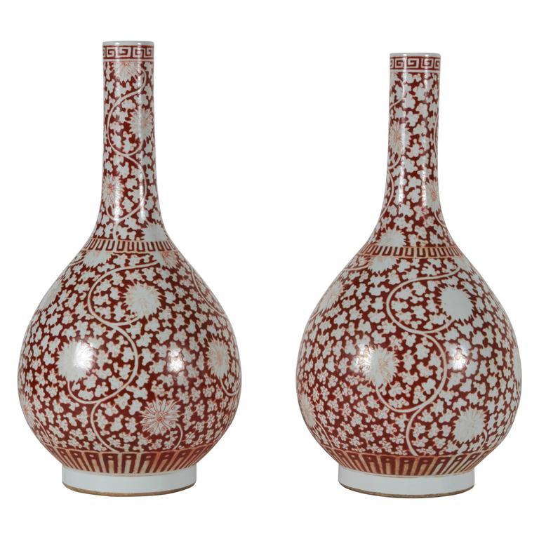 Fine Pair of Chinese Porcelain Bottle Shaped Kangxi Vases