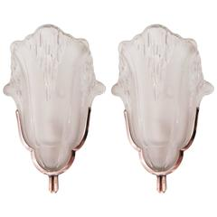 Pair of 1940s Sconces Signed by Ateliers Petitot