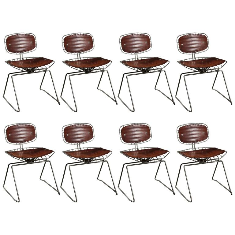 Set of Eight Beaubourg Chairs Designed by Michel Cadestin and Georges Laurent For Sale