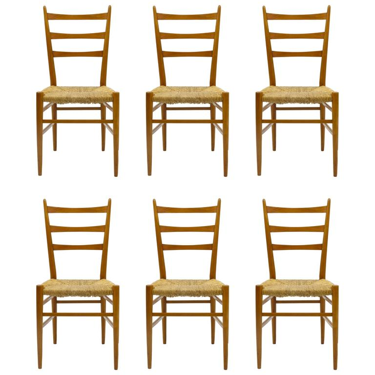 Set of Six Wooden Chairs in the Style of Gio Ponti, Cassina, Italy, 1950s