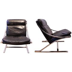 """Pair of Black Leather and Chrome Metal """"Zeta"""" Armchairs by Paul Tuttle, 1968"""