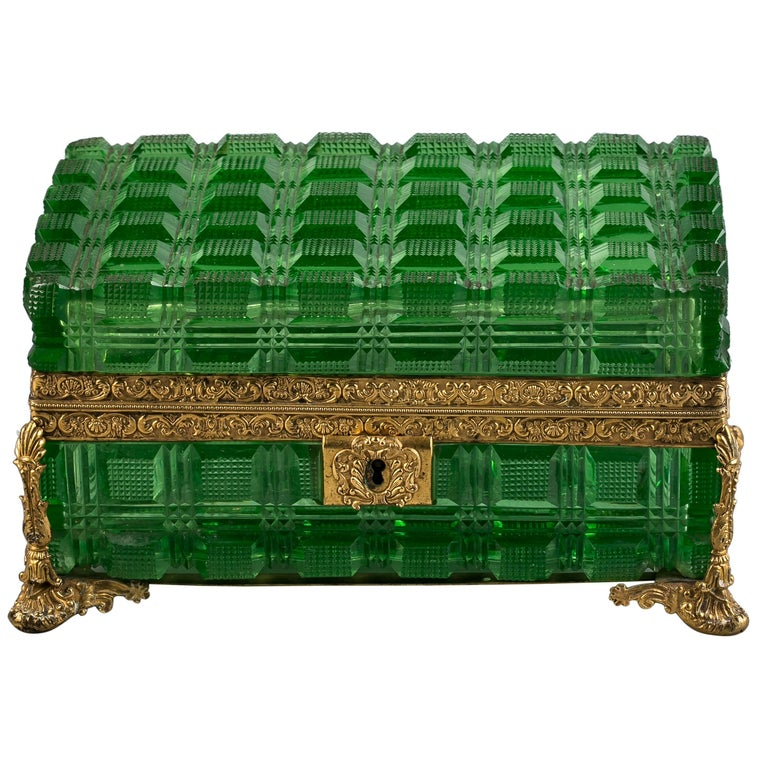 Large Bronze and Green Glass Box, Russian, circa 1825 For Sale