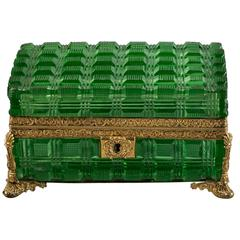 Large Bronze and Green Glass Box, Russian, circa 1825