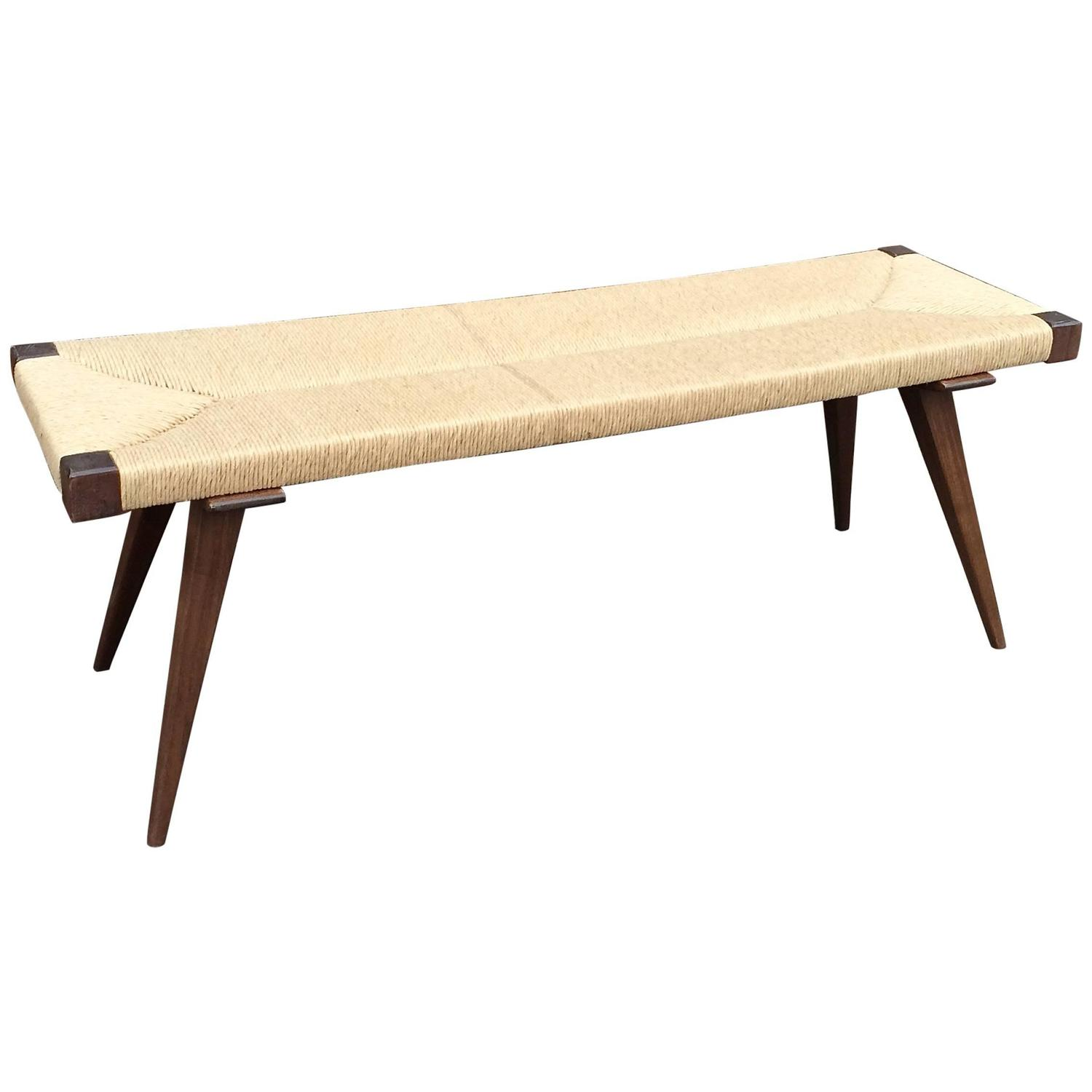 Mid Century Modern Woven Rush Bench At 1stdibs