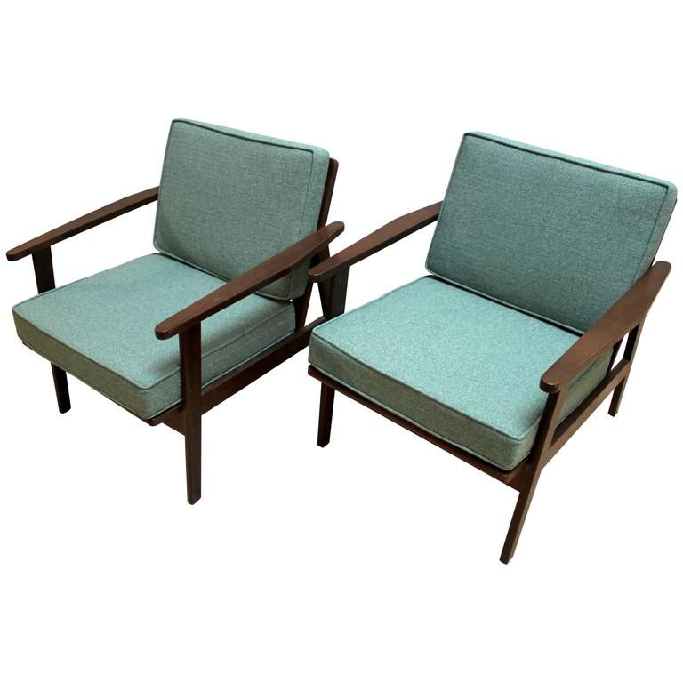 Pair Of 1950s Japanese Mid Century Modern Upholstered Lounge Chairs At 1stdibs