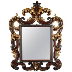 Ornate Italian Wood Gilt and Painted Mirror