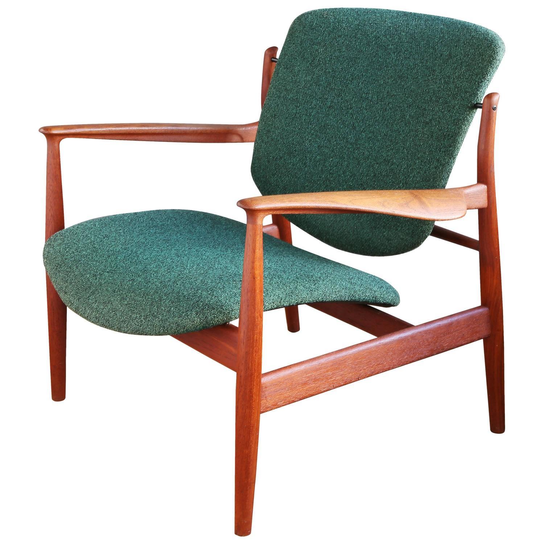 Finn Juhl Model FD 136 Teak Lounge Chair at 1stdibs