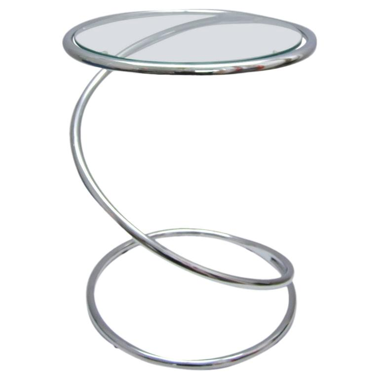 Pace Chrome Spiral Side Table At 1stdibs
