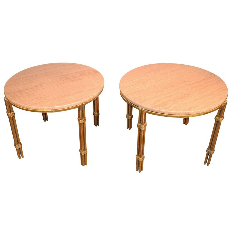 Pair of Arturo Pani Metal and Travertine Side Tables