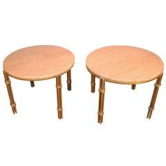 Pair of Arturo Pani Metal and Travertine Side Tables