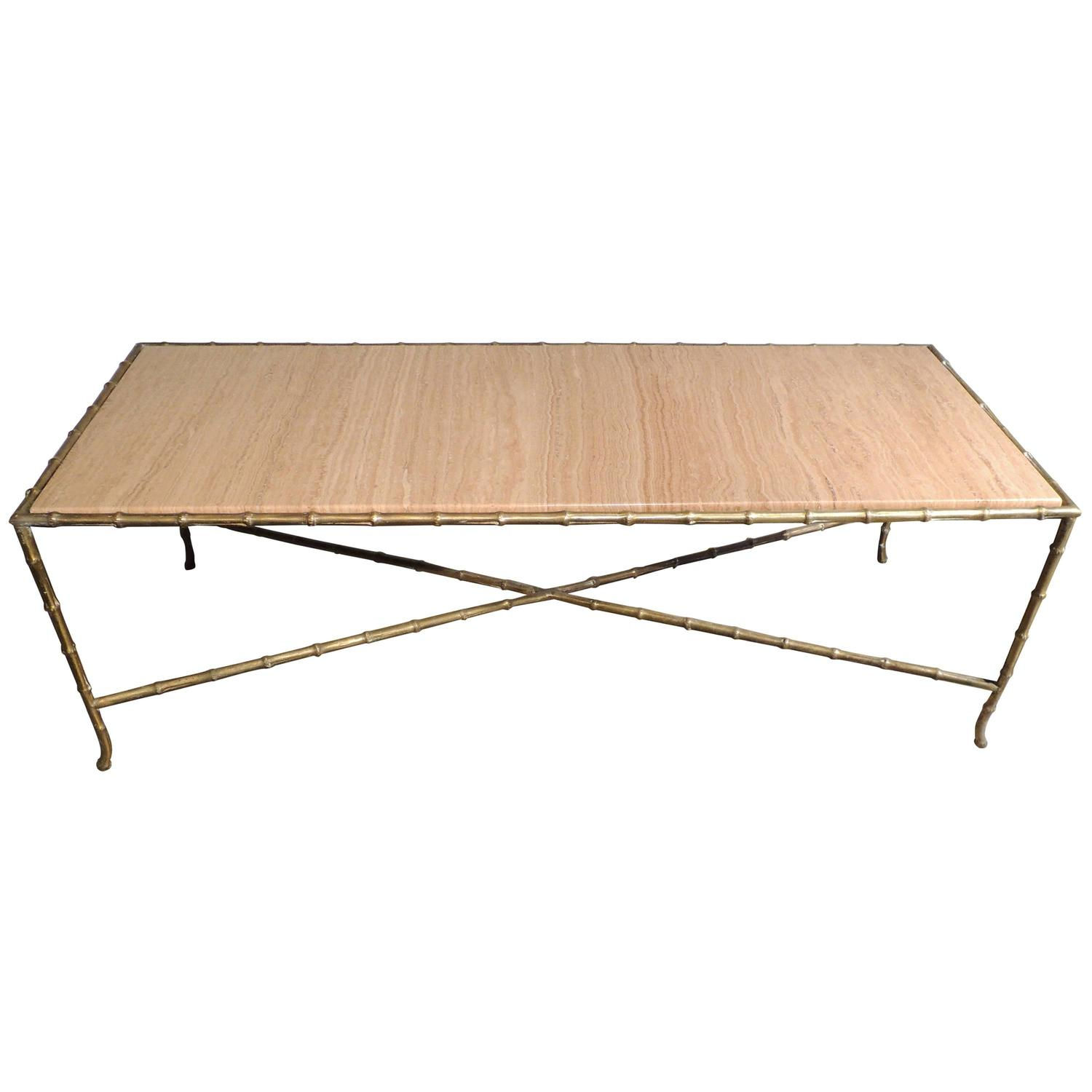 Brass Faux Bamboo Coffee Table: Brass Maison Baguès Faux Bamboo Coffee Table At 1stdibs