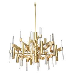 Large Gold-Plate and Crystal Chandelier by Gaetano Sciolari
