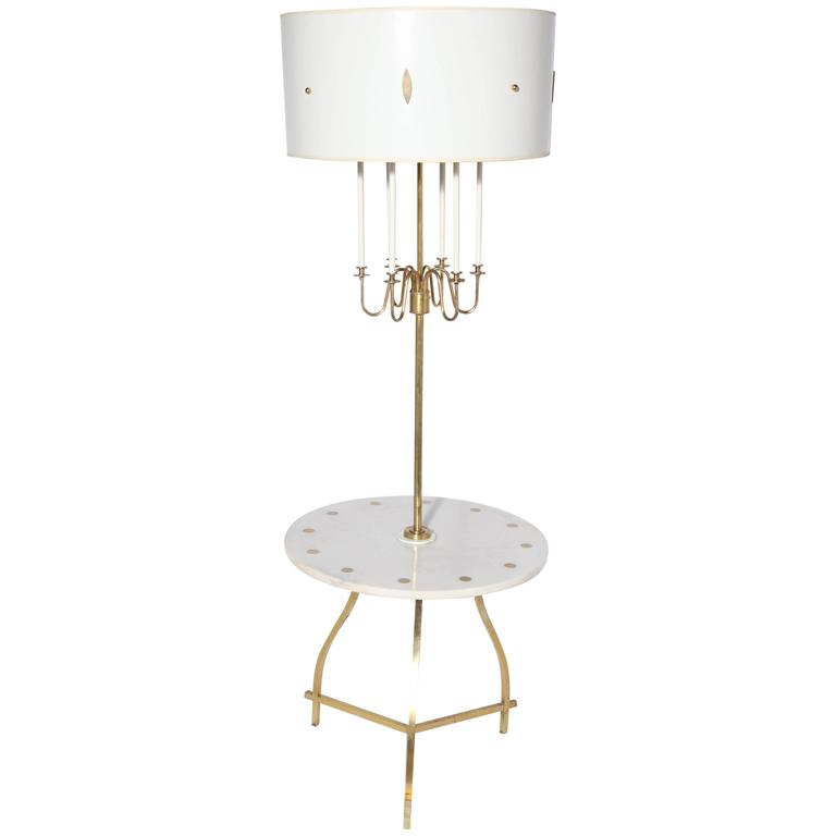 Marble, Brass U0026 White Candelabra Side Table Floor Lamp With White Shade,  1950s