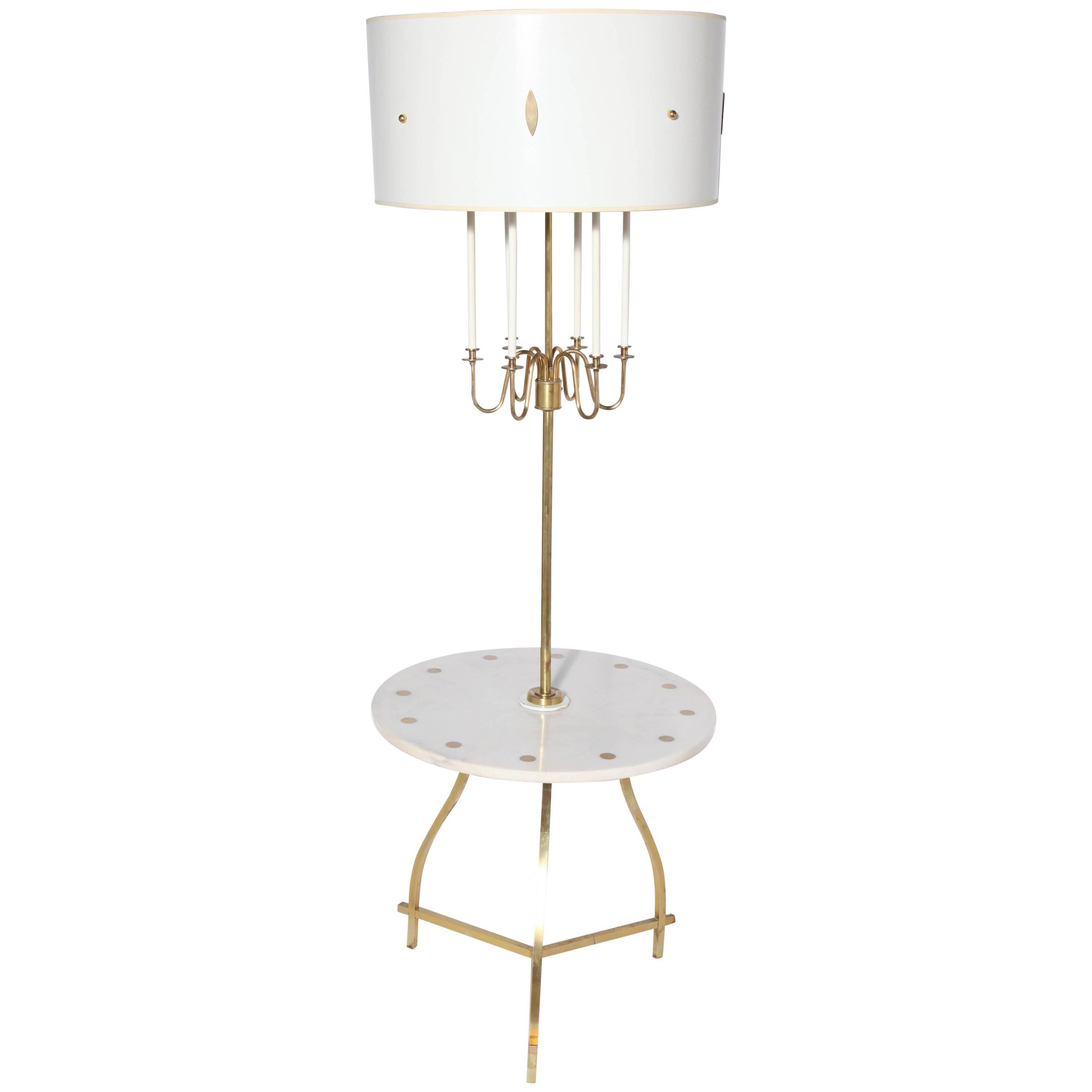 Tommi Parzinger Style Marble & Brass Tiered Candlestick Side Table Floor Lamp