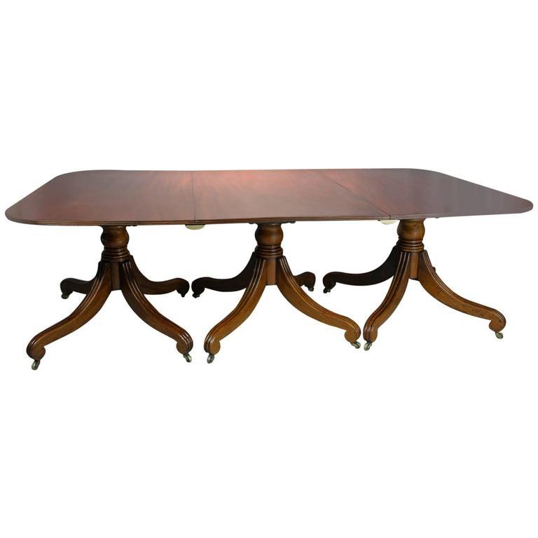 Regency Mahogany Three-Pedestal Dining Table
